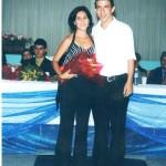 Professora Elaine Cristina Leite Soares de Campos com o aluno formando Rodrigo Martins da Silva
