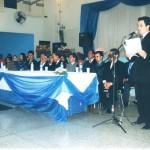 Mesa solene e o mestre de cerimônia Antônio Valini